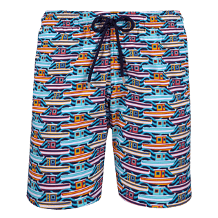Men Long classic Printed - Men Long Stretch Swimwear Mykonos, Tropezian blue front