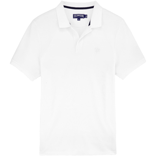 Men Polos Solid - Solid Cotton pique polo, White front