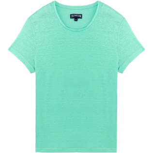 Men Others Solid - Men Linen Jersey T-Shirt Solid, Mint front