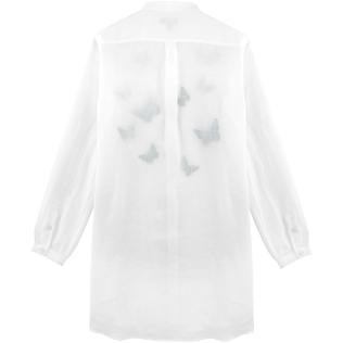 Women Dresses Embroidered - Embroidered Butterflies long round collar shirt, White back