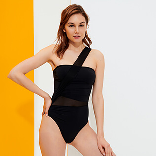 Women One piece Solid - Women Bustier One piece Swimsuit Solid, Black frontworn