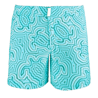 Men Flat belts Printed - Men Short and Fitted Stretch Swimwear Hypnotic Turtles, Curacao front