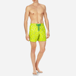 Men Embroidered Embroidered - Men Swimtrunks Embroidered Micro ronde des tortues - Limited Edition, Chartreuse frontworn
