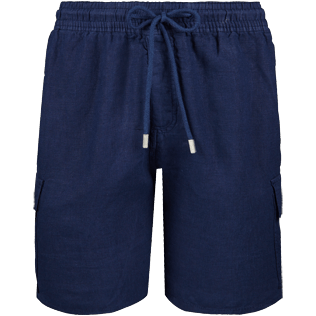 Men Shorts Solid - Solid Cargo linen bermuda shorts, Navy front