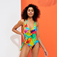 Women Trikini Printed - Women Swimsuit Trikini Holi Party, Batik blue frontworn