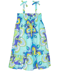 Girls Others Printed - Cotton Girls Dress Kaleidoscope, Lagoon front