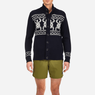Men Sweaters Printed - Italian merino/cashmere sweater , Navy supp1