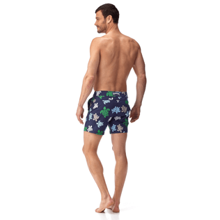 Men Fitted Printed - Multicolor Turtles Fitted cut Swim shorts, Navy backworn