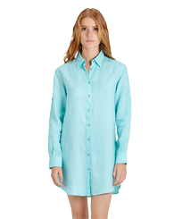 Women Others Solid - Women Long Linen Shirt Solid, Lagoon frontworn