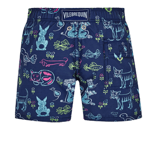 Boys Others Printed - Boys Swim Trunks Rabbits and Poodles - Florence Broasdhurst Father's Day, Navy back