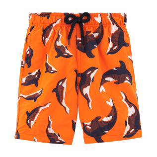 Boys Classic / Moorea Embroidered - Galak Embroidered swimwear, Papaya front