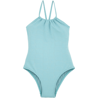 Girls One Piece Solid - Jacquard Ecailles de Tortue One piece, Frosted blue front