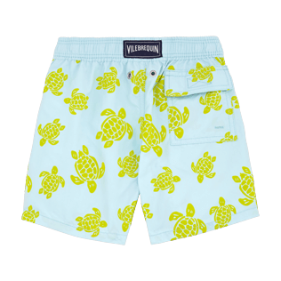 Boys Classic / Moorea Printed - Flocked Turtle Print Swim Shorts, Frosted blue back