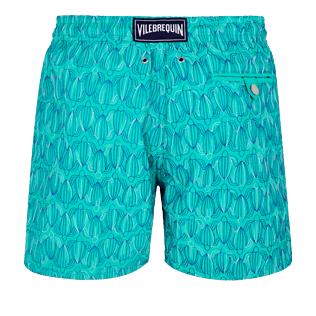 Men 017 Embroidered - Men Swim Trunks Embroidered Armor Turtles - Limited Edition, Veronese green back