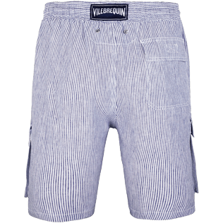 Men Others Graphic - Men Cargo Linen Bermuda Shorts Micro Stripes, Ultramarine back