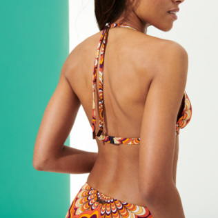 Women Halter Printed - Women Halter Bikini Top 1975 Rosaces, Apricot backworn