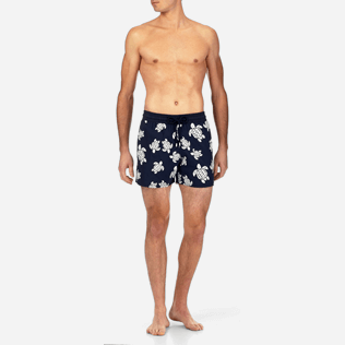 Men Stretch classic Printed - Turtles Glow in the Dark Superflex Swim shorts, Navy frontworn
