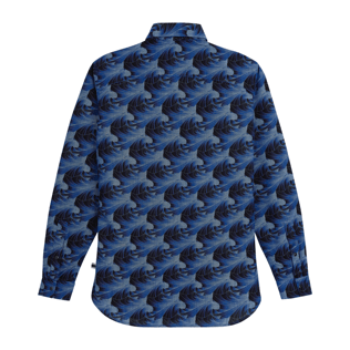 Men Others Printed - Men Chambray Shirt Waves, Navy back