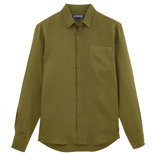 Men Others Solid - Men Linen Shirt Solid, Khaki front