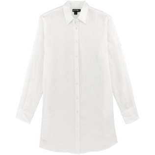 Women Shirts Solid - Solid Linen Long cut boyfriend shirt, White front