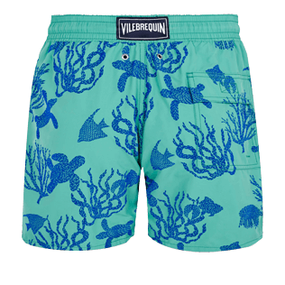 Men Classic Printed - Men Swimwear Flocked Coral and Turtles, Veronese green back