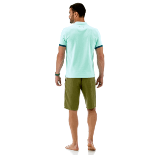 Men Others Solid - Cotton pique polo, Lagoon backworn