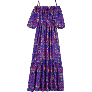 Women Others Printed - Women Off-the-shoulder cotton long Dress Phuket, Sea blue back