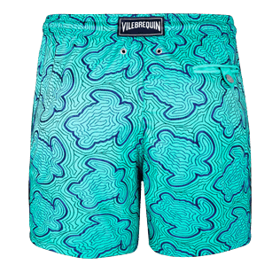 Men Embroidered Embroidered - Men Swimtrunks Embroidered Hypnotic Turtles - Limited Edition, Veronese green back