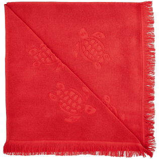 Others Solid - Fouta in terry cloth Turtles Jacquard, Red polish back