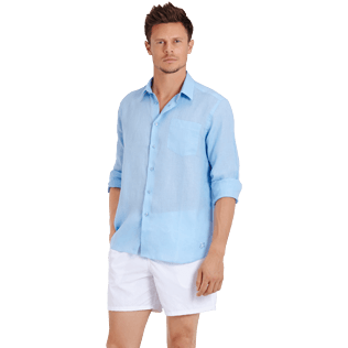 Men Others Solid - Men Linen Shirt Solid, Sky blue supp3