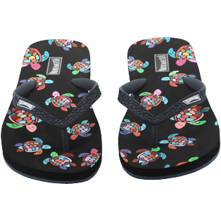 Women Others Printed - Women Flip Flop Over the Rainbow Turtles, Black frontworn