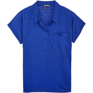 Women Others Solid - Women Linen Jersey Polo shirt Solid, Neptune blue front
