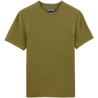 Men Tee-Shirts Solid - Solid Round neck cotton pique Tee-Shirt, Khaki front
