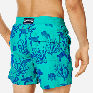 Men Classic Printed - Men Swimwear Flocked Coral and Turtles, Veronese green supp1