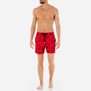 Men Embroidered Embroidered - Men Swimtrunks Embroidered Feuillage - Limited Edition, Poppy red frontworn