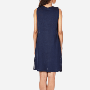 Women Dresses Solid - Women Cowl neck Linen Jersey Dress Solid, Navy supp2