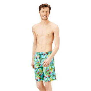 Hombre Clásico largon Estampado - Men Swimwear Long Go Bananas, Lazulii blue frontworn