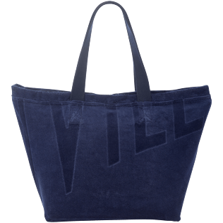 Men Bags Solid - Large Terry Cloth Beach bag Solid Jacquard, Navy back