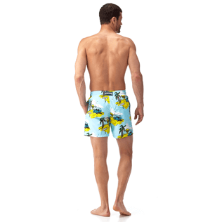 Men Classic / Moorea Printed - Sunny Car Swim shorts, Frosted blue backworn