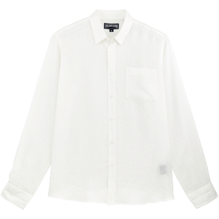 Men Shirts Solid - Men Linen Shirt Solid, White front