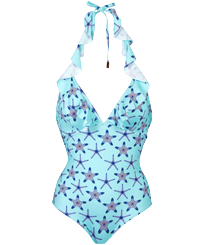 Women One piece Printed - Women One piece Swimsuit Starfish Dance, Lazulii blue front