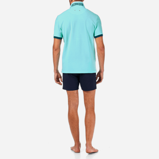 Men Others Solid - Solid Cotton pique polo, Lagoon supp4