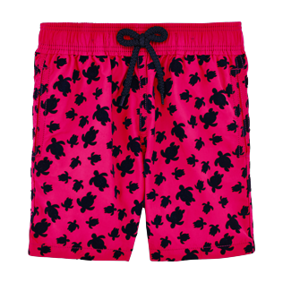 Boys Others Printed - Boys Swimtrunks Flocked Micro ronde des tortues, Shocking pink front