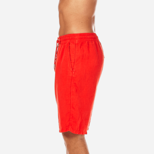 Men Shorts Solid - Men Italian Pockets Linen Bermuda Shorts Solid, Poppy red supp3