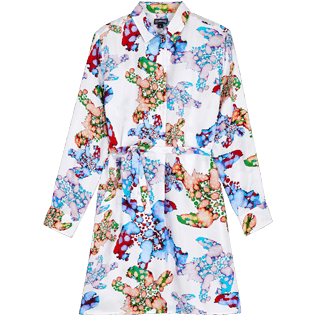 Women Others Printed - Women Silk Dress Watercolor Turtles, White front