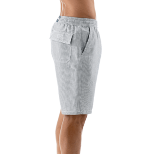 Men Shorts Graphic - Micro-stripped Linen bermuda shorts, Black supp1