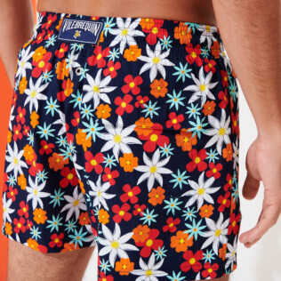 Men Stretch classic Printed - Men Stretch Short Swim Trunks 1977 Spring Flowers , Navy supp1