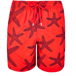 Men Embroidered Embroidered - Men Swimwear Embroidered Starlettes - Limited Edition, Poppy red front