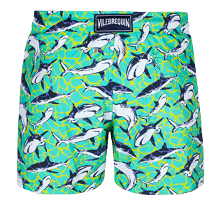 Men Stretch classic Printed - Men Swim Trunks Stretch Sharks - Web Exclusive, Veronese green back