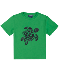 Boys Others Printed - Boys Cotton T-Shirt Turtles 3D effect, Grass green front